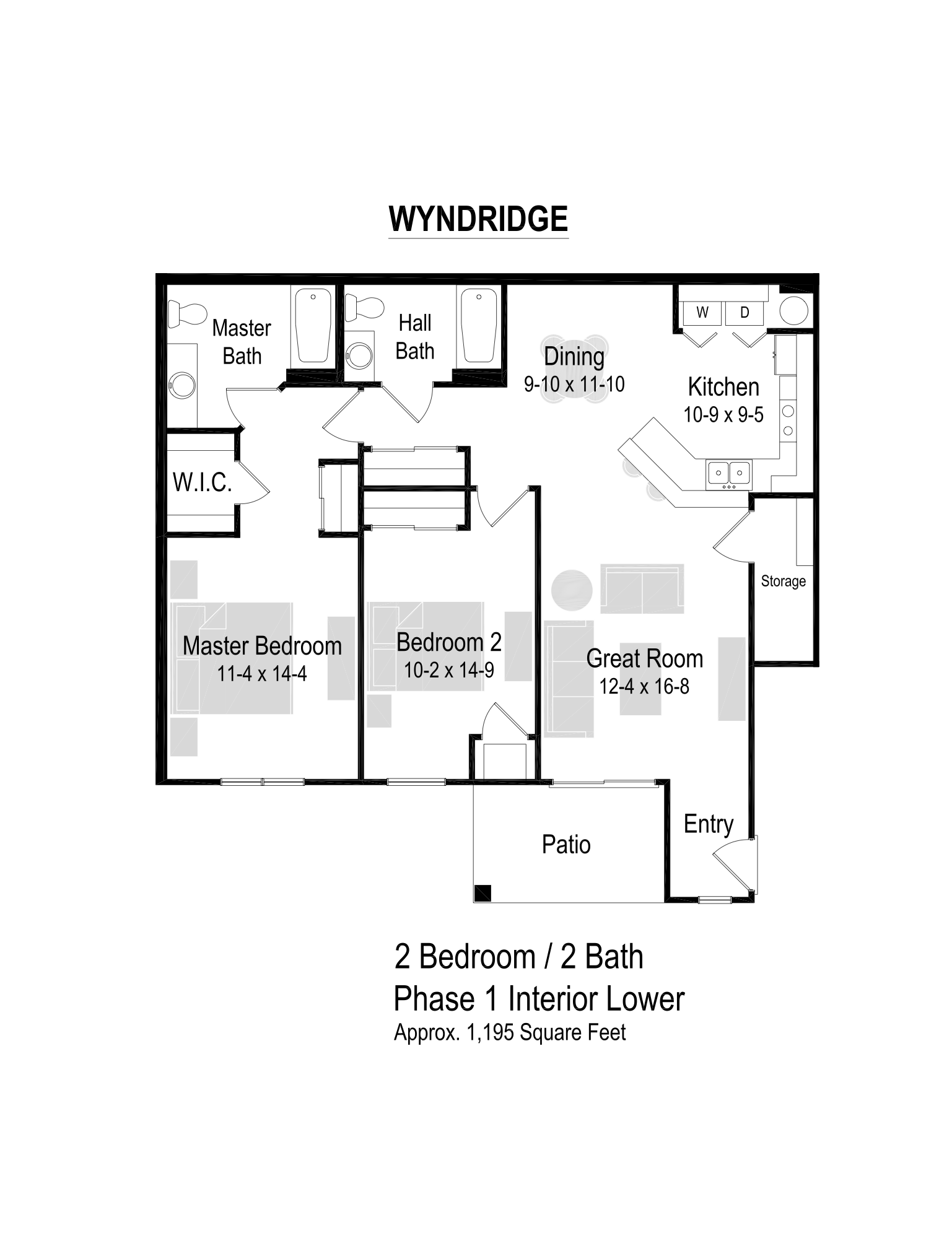 1195 Sq. Ft. Floor Plan