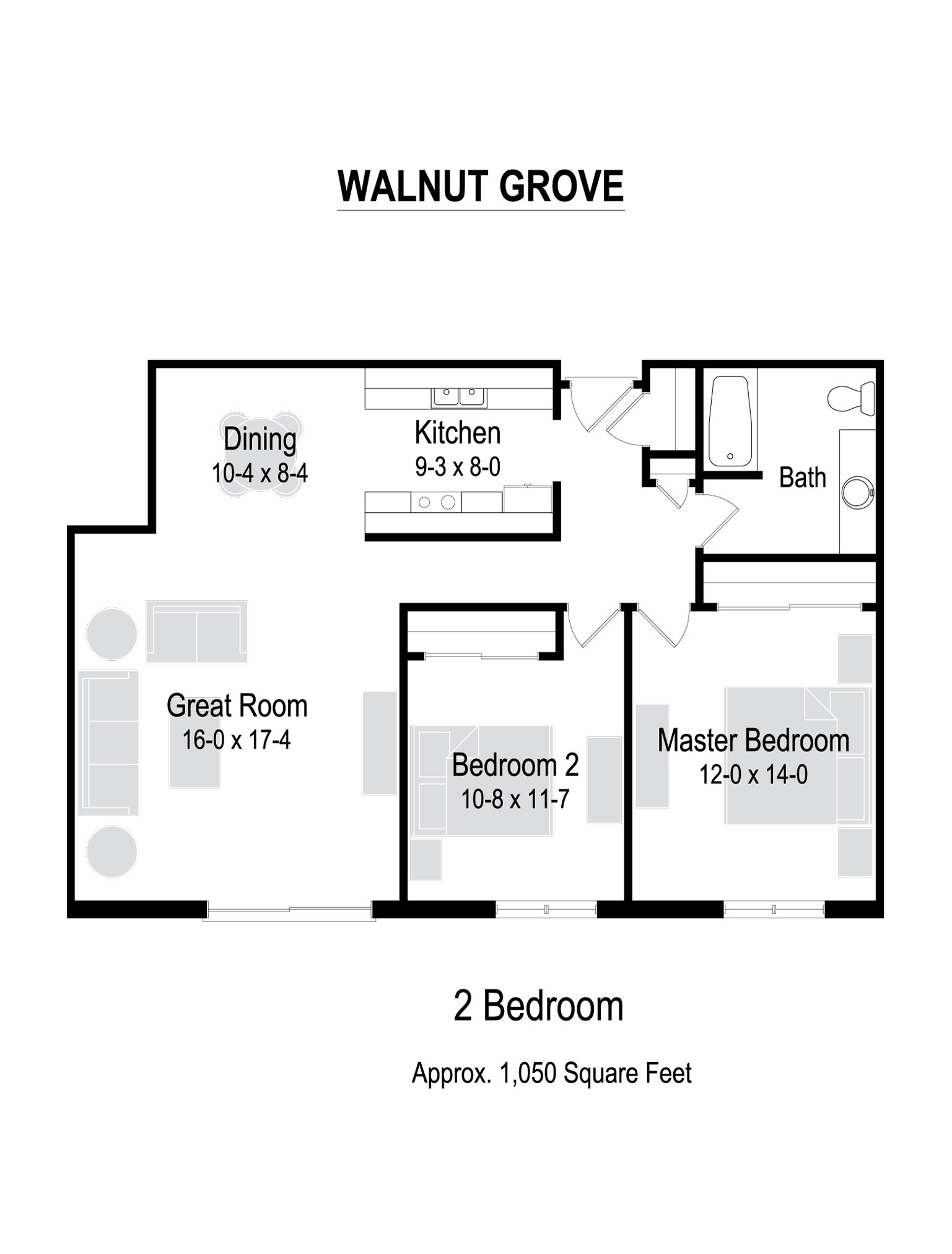 1050 Sq. Ft. Floor Plan