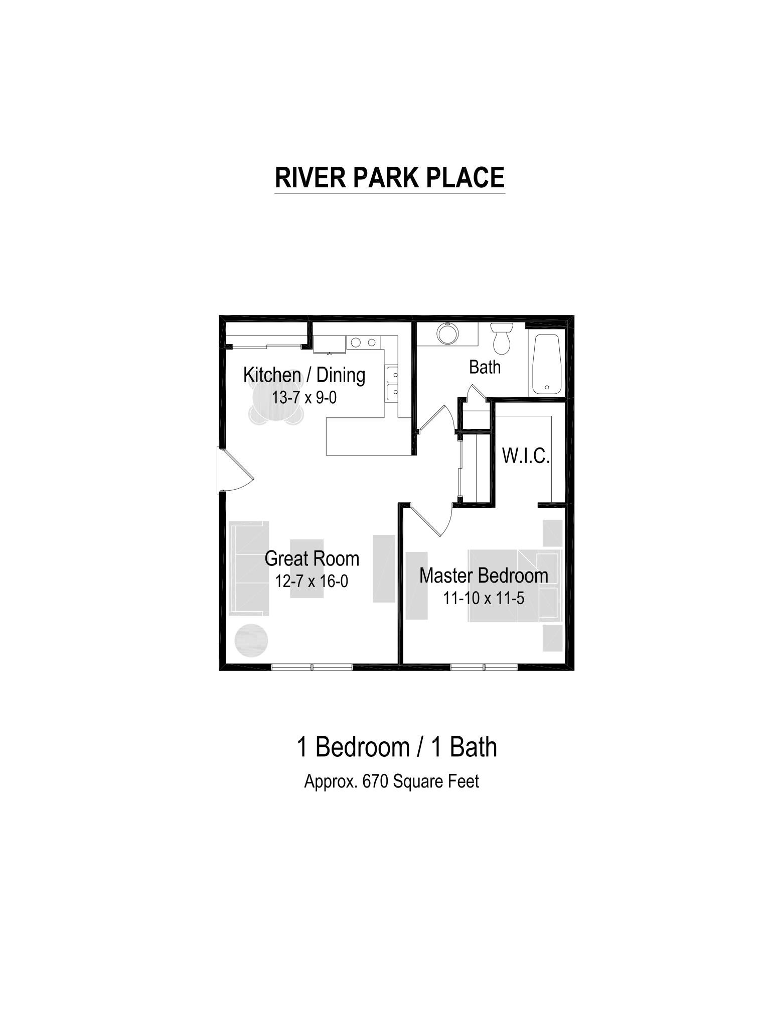 670 Sq. Ft. Floor Plan